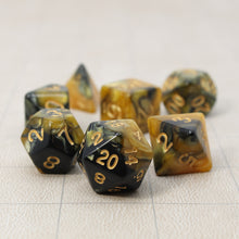 Load image into Gallery viewer, Gold and Black - Perfect Storm Marbled Dice Set (7pc and velvet bag)