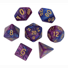 Load image into Gallery viewer, Dark Blue and Purple - Perfect Storm Marbled Dice Set (7pc and velvet bag)