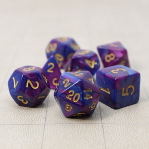 Dark Blue and Purple - Perfect Storm Marbled Dice Set (7pc and velvet bag)