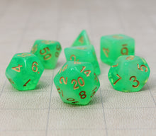 Load image into Gallery viewer, Green with Gold – Aura Celestia RPG Dice Set (7pc and velvet bag)
