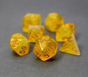 Yellow with Gold – Aura Celestia RPG Dice Set (7pc and velvet bag)
