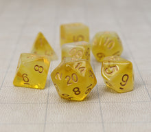 Load image into Gallery viewer, Yellow with Gold – Aura Celestia RPG Dice Set (7pc and velvet bag)