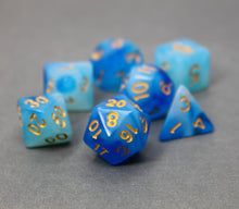 Load image into Gallery viewer, Blue with Gold – Aura Celestia RPG Dice Set (7pc and velvet bag)