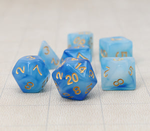 Blue with Gold – Aura Celestia RPG Dice Set (7pc and velvet bag)