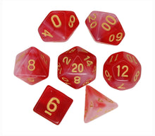 Load image into Gallery viewer, Red with Gold – Aura Celestia RPG Dice Set (7pc and velvet bag)