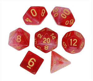 Red with Gold – Aura Celestia RPG Dice Set (7pc and velvet bag)
