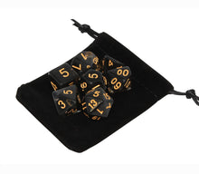 Load image into Gallery viewer, Black with Gold – Aura Celestia RPG Dice Set (7pc and velvet bag)