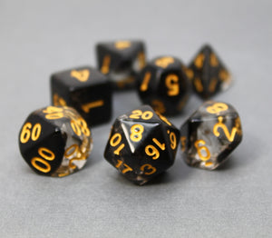 Black with Gold – Aura Celestia RPG Dice Set (7pc and velvet bag)