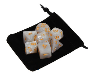 White with Gold – Angelic Pearl Dice Set (7pc and velvet bag)