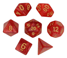 Load image into Gallery viewer, Red with Gold – Angelic Pearl Dice Set (7pc and velvet bag)