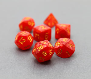 Red with Gold – Angelic Pearl Dice Set (7pc and velvet bag)