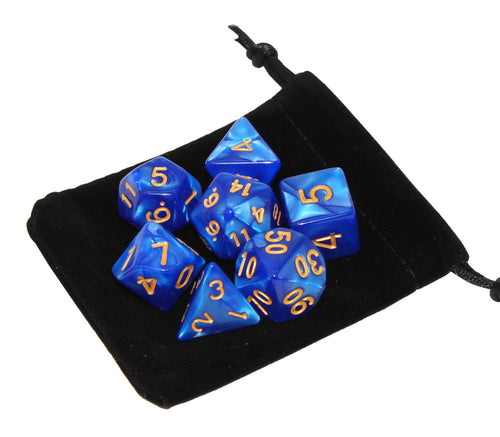 Blue with Gold – Angelic Pearl Dice Set (7pc and velvet bag)