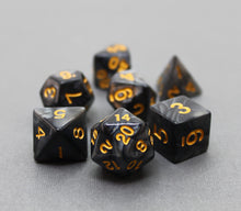 Load image into Gallery viewer, Black with Gold – Angelic Pearl Dice Set (7pc and velvet bag)