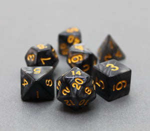 Black with Gold – Angelic Pearl Dice Set (7pc and velvet bag)