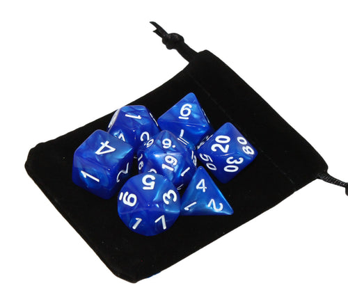 Blue with White – Angelic Pearl Dice Set (7pc and velvet bag)