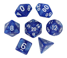 Load image into Gallery viewer, Blue with White – Angelic Pearl Dice Set (7pc and velvet bag)