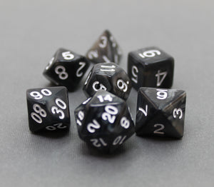 Black with White – Angelic Pearl Dice Set (7pc and velvet bag)