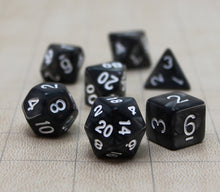 Load image into Gallery viewer, Black with White – Angelic Pearl Dice Set (7pc and velvet bag)