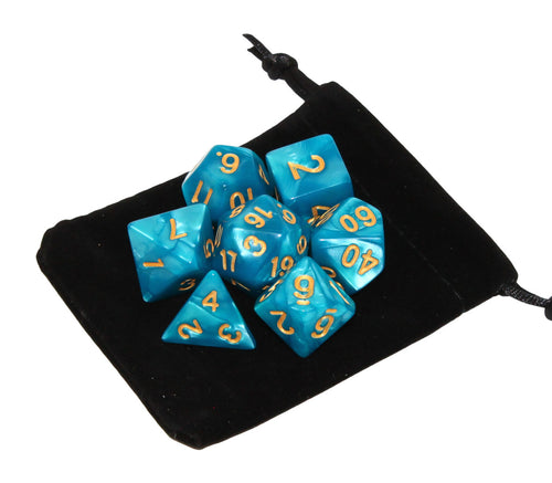 Light Blue with Gold – Angelic Pearl Dice Set (7pc and velvet bag)