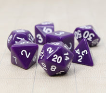 Load image into Gallery viewer, Purple – Fortitude RPG Dice Set (7pc and velvet bag)