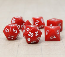 Load image into Gallery viewer, Red – Fortitude RPG Dice Set (7pc and velvet bag)