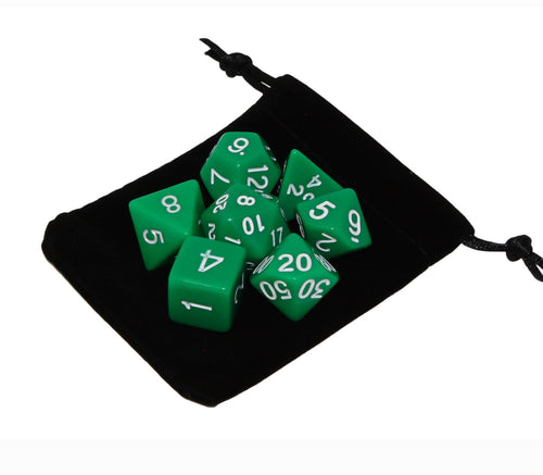 Green – Fortitude RPG Dice Set (7pc and velvet bag)