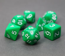 Load image into Gallery viewer, Green – Fortitude RPG Dice Set (7pc and velvet bag)
