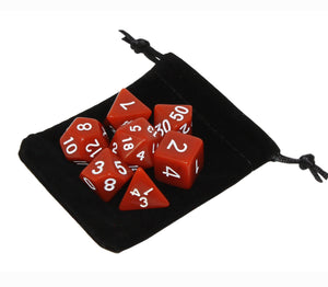 Brown – Fortitude RPG Dice Set (7pc and velvet bag)