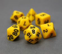 Load image into Gallery viewer, Yellow – Fortitude RPG Dice Set (7pc and velvet bag)