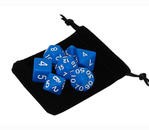 Blue – Fortitude RPG Dice Set (7pc and velvet bag)