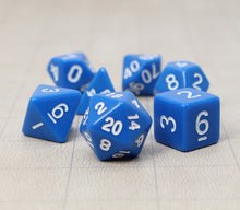 Load image into Gallery viewer, Blue – Fortitude RPG Dice Set (7pc and velvet bag)