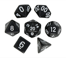 Load image into Gallery viewer, Black – Fortitude RPG Dice Set (7pc and velvet bag)