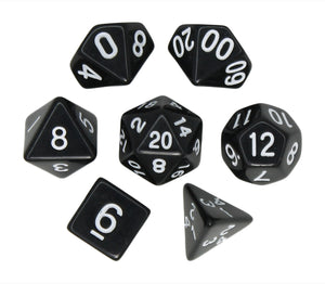 Black – Fortitude RPG Dice Set (7pc and velvet bag)