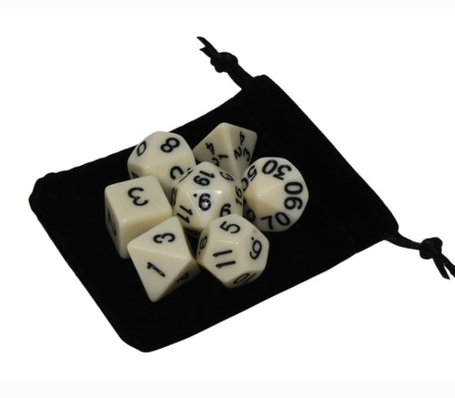 White – Fortitude RPG Dice Set (7pc and velvet bag)