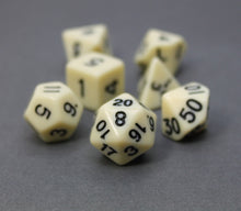 Load image into Gallery viewer, White – Fortitude RPG Dice Set (7pc and velvet bag)