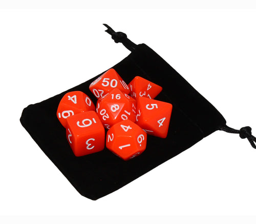 Orange – Fortitude RPG Dice Set (7pc and velvet bag)