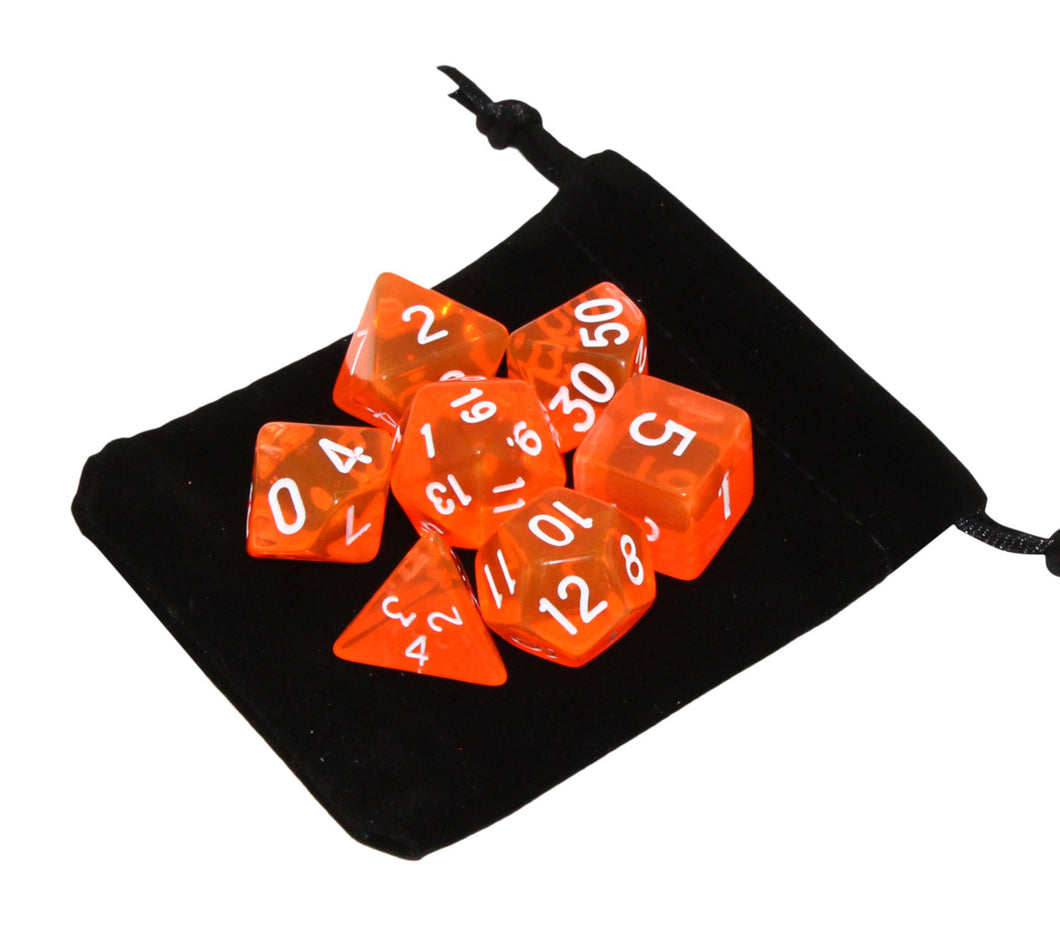 Orange - Radiant Clear RPG Dice Set (7pc and velvet bag)