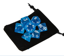 Load image into Gallery viewer, Blue - Radiant Clear RPG Dice Set (7pc and velvet bag)