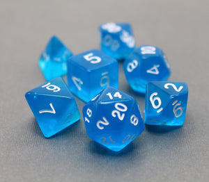Blue - Radiant Clear RPG Dice Set (7pc and velvet bag)