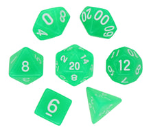 Load image into Gallery viewer, Green - Radiant Clear RPG Dice Set (7pc and velvet bag)