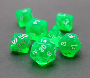 Green - Radiant Clear RPG Dice Set (7pc and velvet bag)
