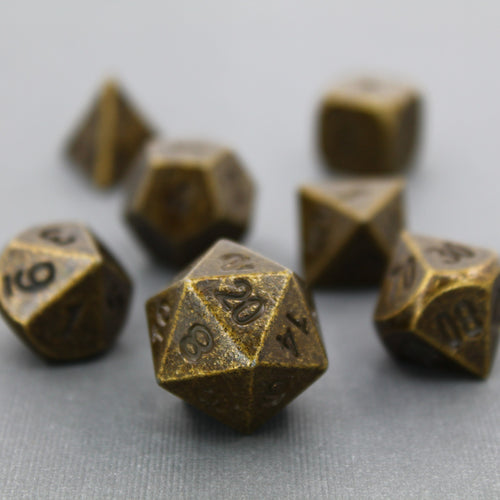 Ancient Gold - 7 Piece Metal Polyhedral Dice Set with Metal Box
