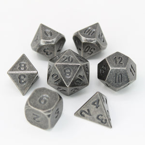 Ancient Nickel - 7 Piece Metal Polyhedral Dice Set with Metal Box