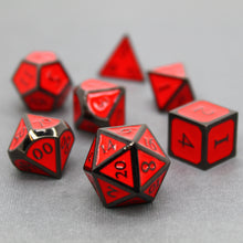 Load image into Gallery viewer, Black Nickel and Red - 7 Piece Metal Polyhedral Dice Set with Metal Tin