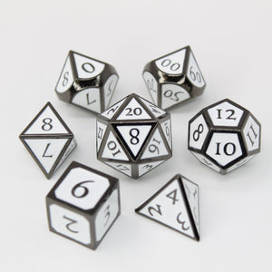 Black Nickel and White - 7 Piece Metal Polyhedral Dice Set with Metal Tin