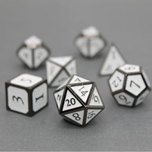 Load image into Gallery viewer, Black Nickel and White - 7 Piece Metal Polyhedral Dice Set with Metal Tin