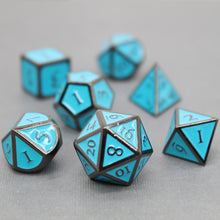 Load image into Gallery viewer, Black Nickel and Blue - 7 Piece Metal Polyhedral Dice Set with Metal Tin