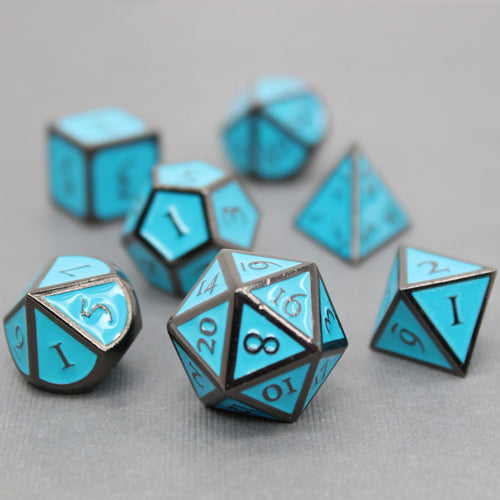 Black Nickel and Blue - 7 Piece Metal Polyhedral Dice Set with Metal Tin