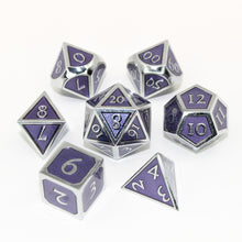 Load image into Gallery viewer, Chrome and Purple - 7 Piece Metal Polyhedral Dice Set with Tin Box