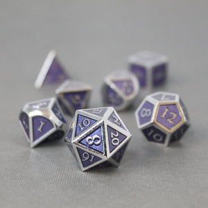 Chrome and Purple - 7 Piece Metal Polyhedral Dice Set with Tin Box